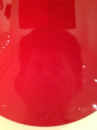 "Me, reflected in ""Untitled (Shu-red),"" 2007 by Anish Kapoor"